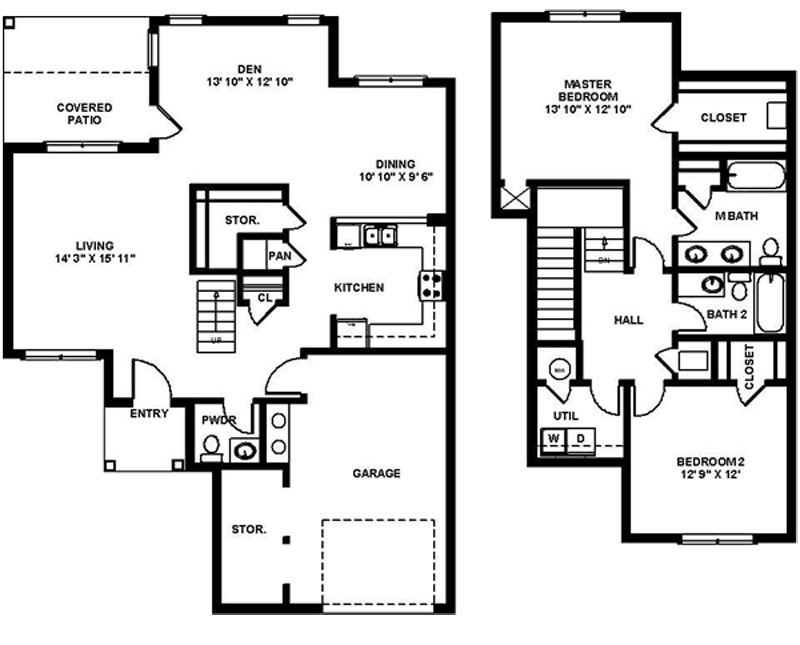The B2 floor plan features 2 bedrooms, 2.5 baths and 1674