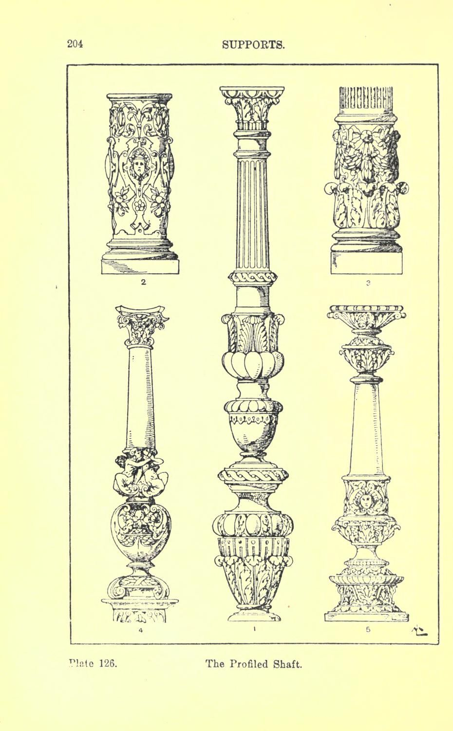 Handbook Of Ornaments Architectural Supports Columns Architecture Drawing Ornament Drawing Historical Architecture