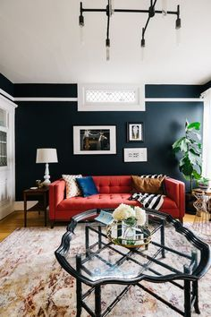 Navy Walls Red Sofa Red Couch Living Room Red Sofa Living Room Blue Living Room