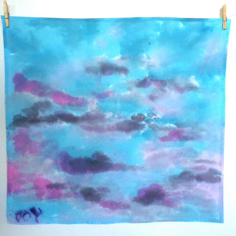 Summer sky towel, blue towel, pink towel, purple dish towel, tea ...