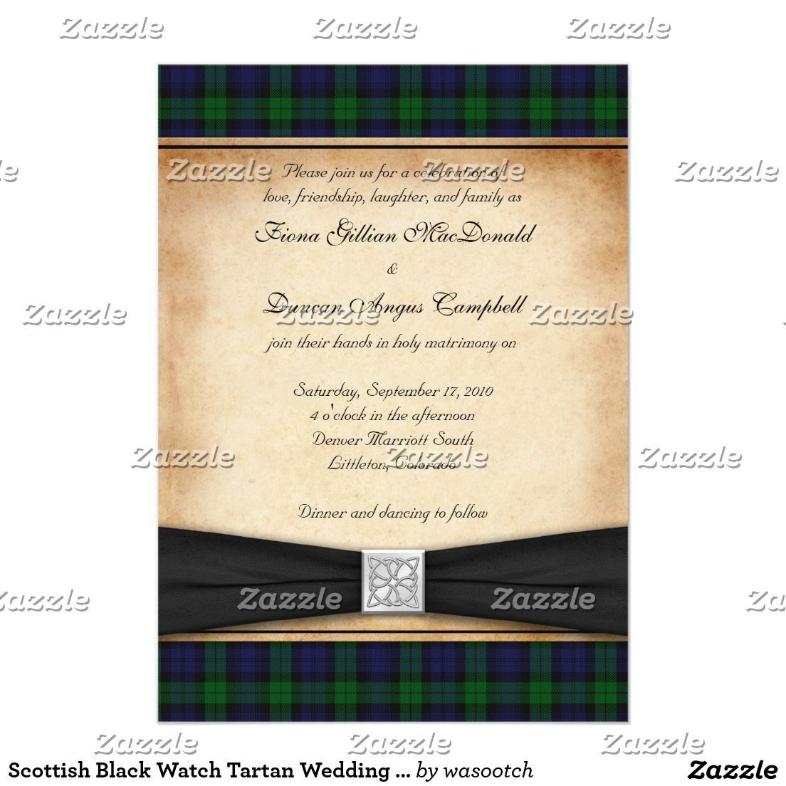 Scottish Black Watch Tartan Wedding Invitation