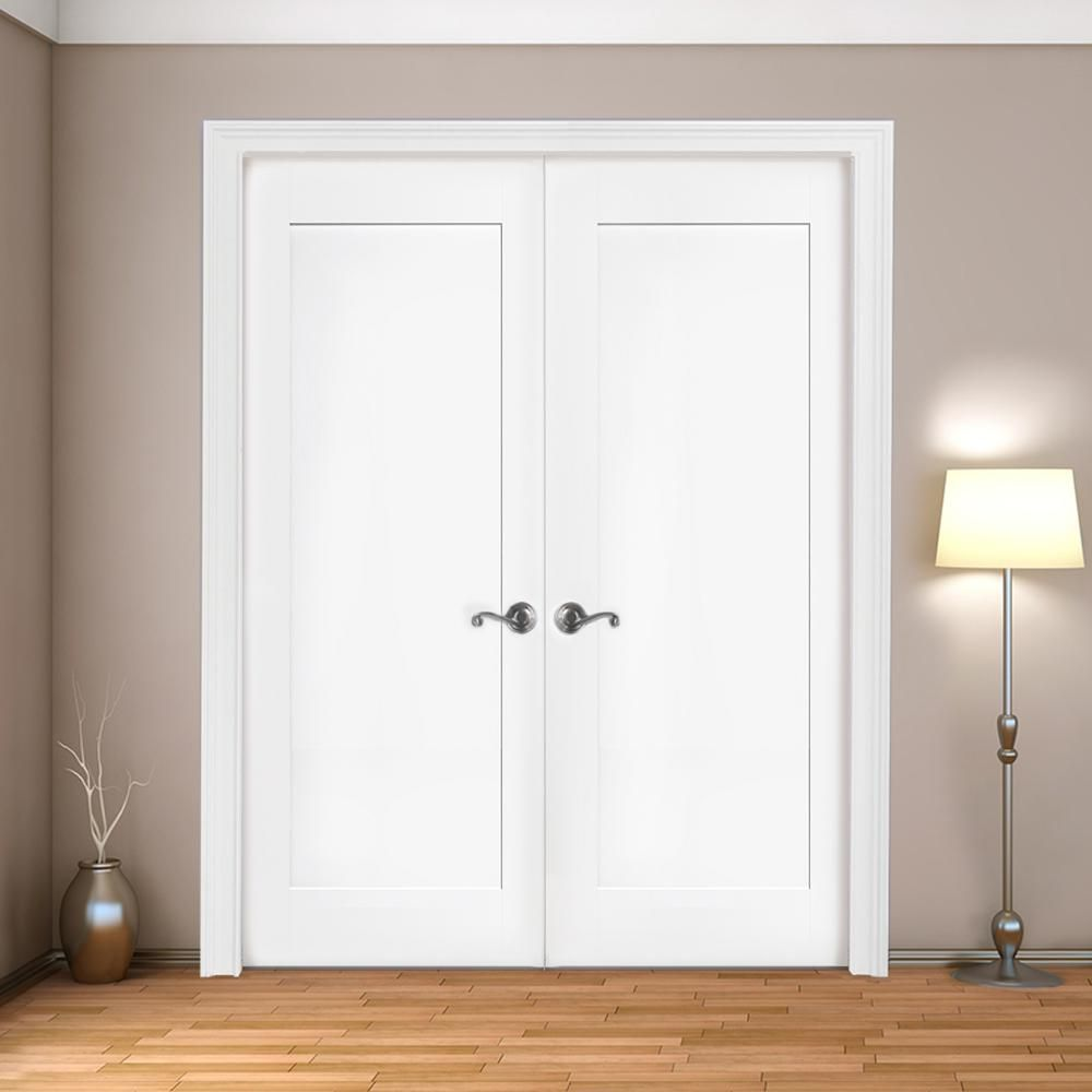 Steves Sons 48 In X 80 In 1 Panel Primed White Shaker Solid Core Wood Double Prehung Interior D In 2020 Prehung Interior Doors Doors Interior Double Doors Interior
