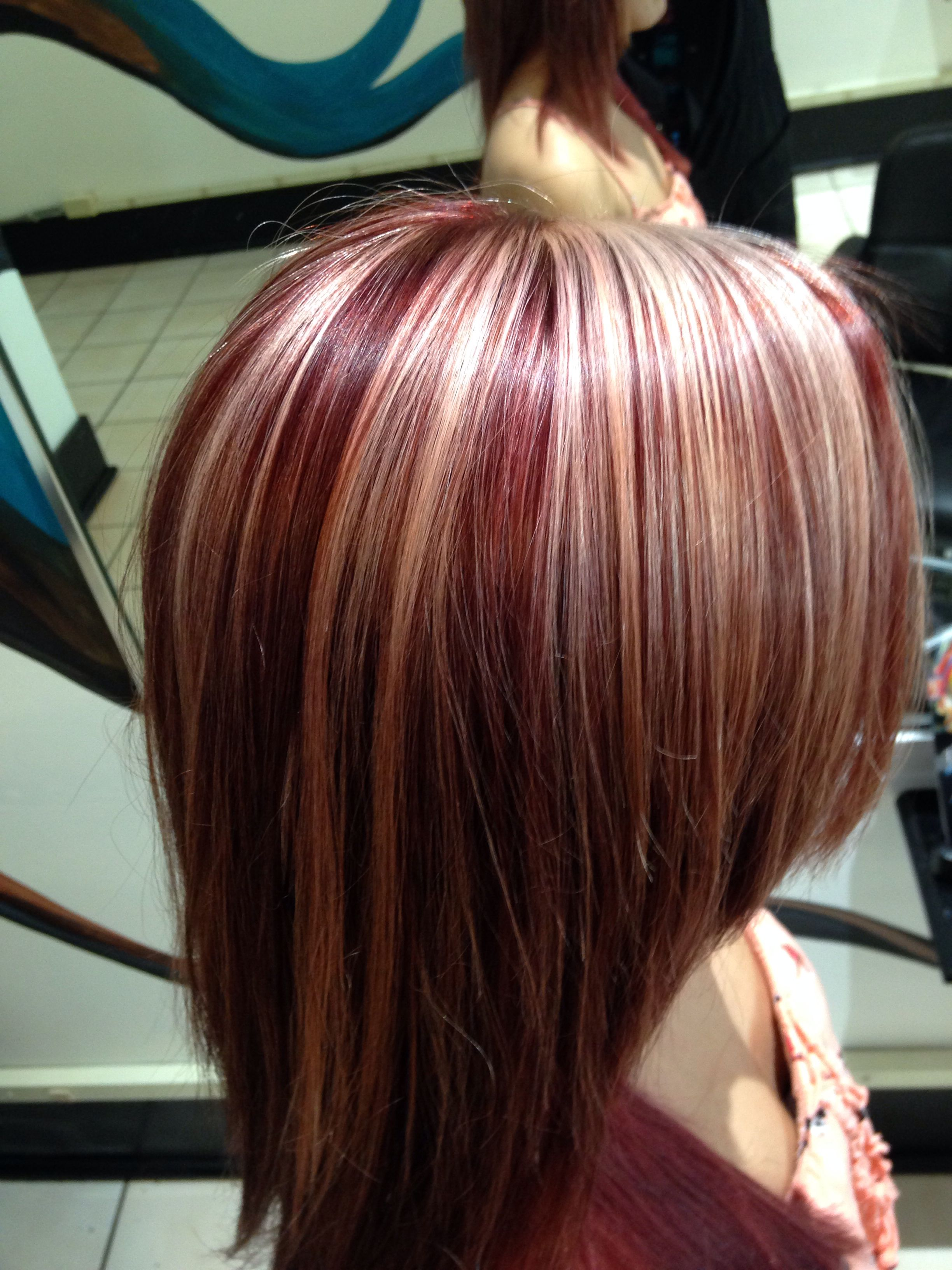 Red Color With Chunky Blonde Highlights Hair Pinterest Hair