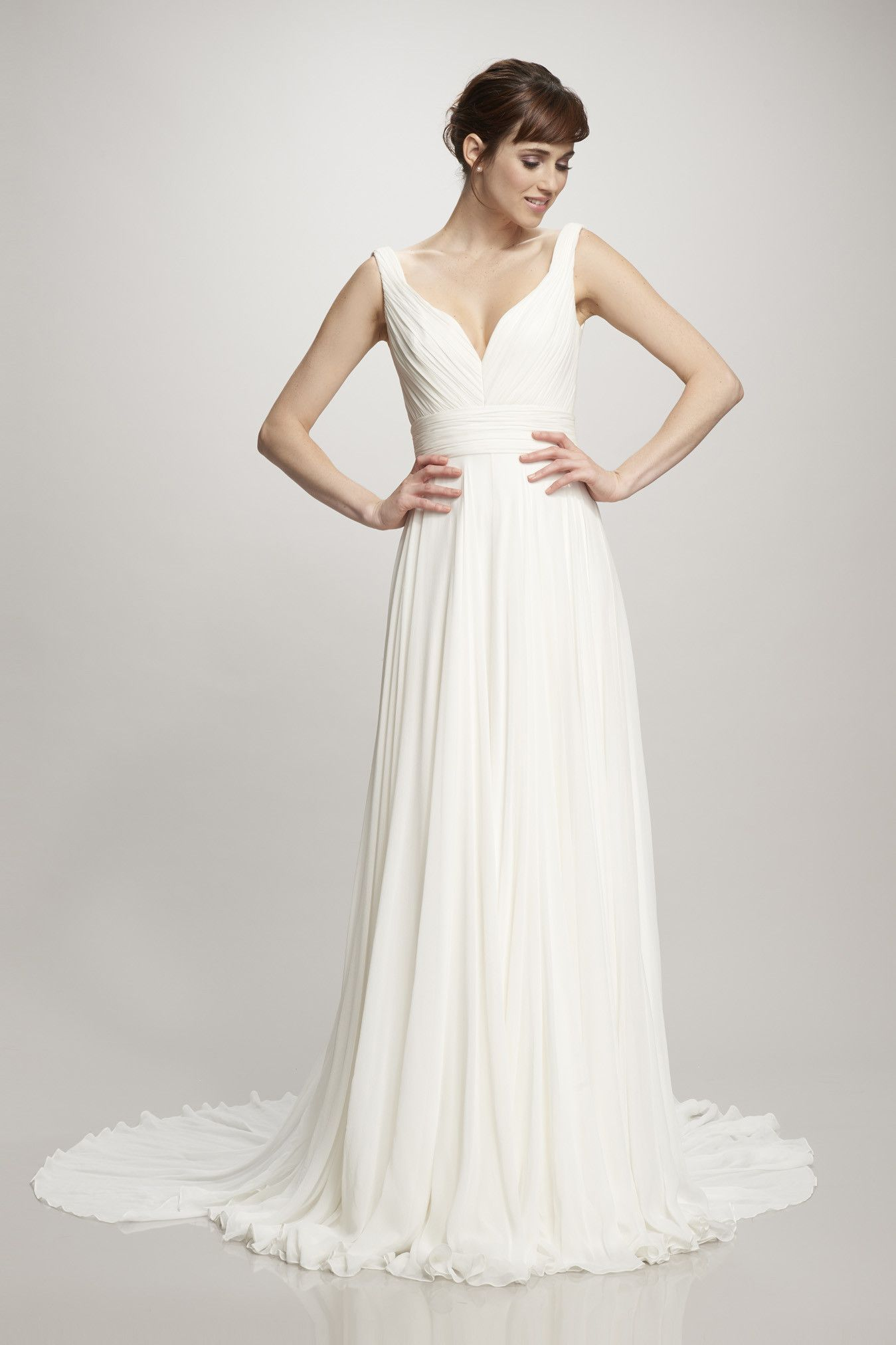Ivory silk chiffon gown with rouched bodice and waist - the Melissa ...