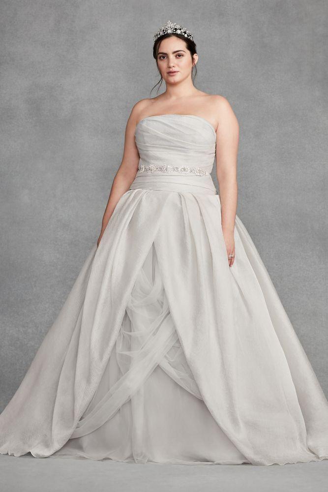 White by Vera Wang Organza Plus Size Wedding Dress - Sterling ...