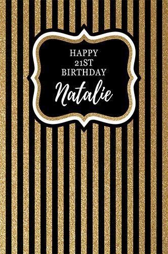 Custom 21ST Birthday Backdrop Black and Gold Stripes ANY TEXT 30th