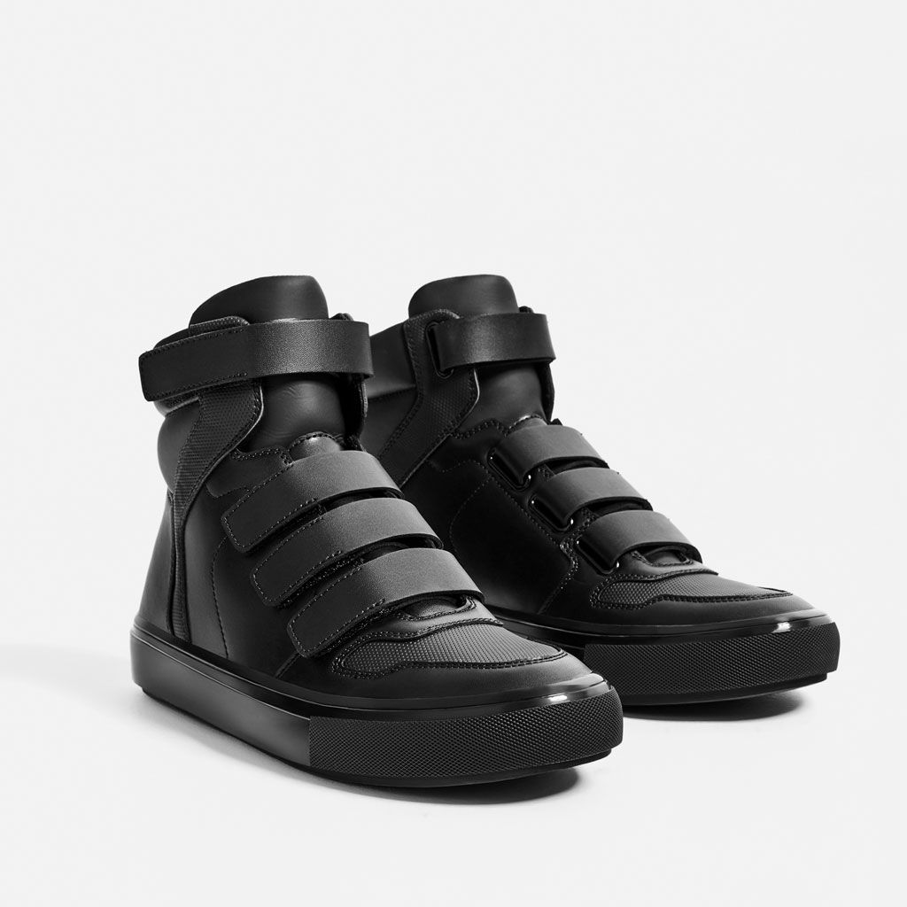 Image 1 of BLACK HIGH-TOP SNEAKERS WITH HOOK-AND-LOOP FASTENERS from