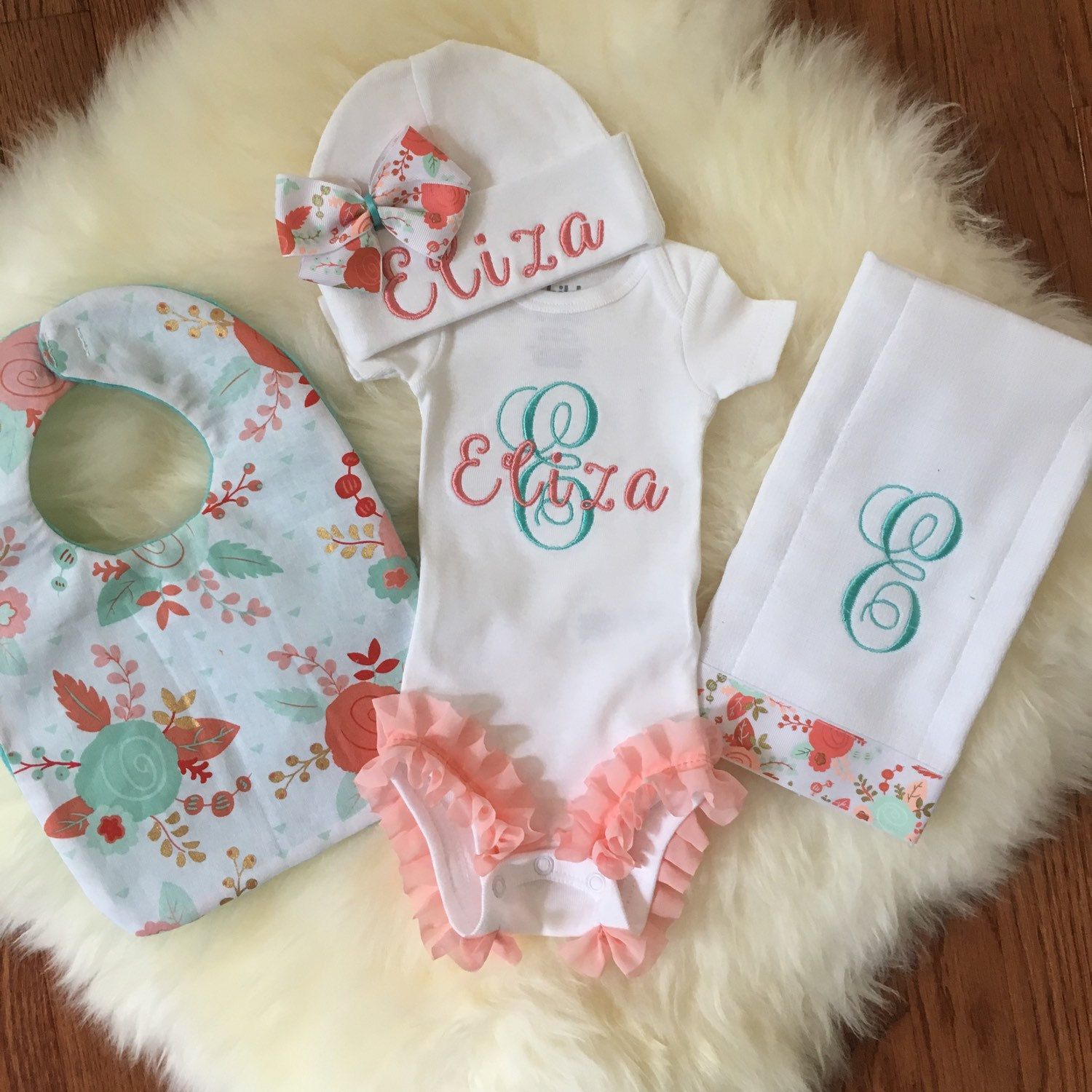 Baby girl coming home outfit coral floral newborn baby monogram baby girl coming home outfit coral floral newborn baby monogram clothes personalized baby gift newborn photo prop baby girl ruffled legs negle Images