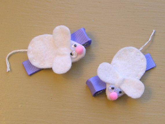 Wee White Mice Hair ClipsFelt Animal by MyFamilyTies on Etsy, $6.50