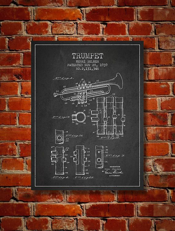 1939 Trumpet Patent Art Decor Drawing. Available as poster or canvas in various colors. #decor #inventions #patents #instruments