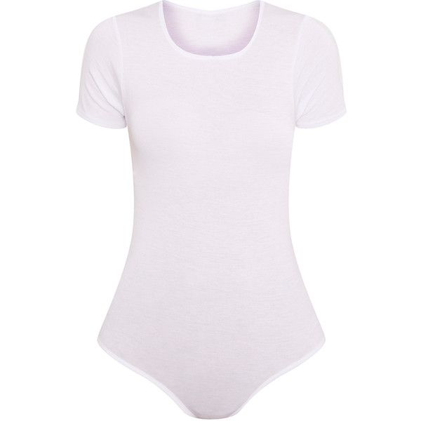 Basic White Round Neck Bodysuit (19 BAM) ❤ liked on Polyvore featuring intimates and shapewear