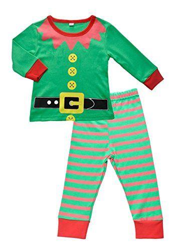 DDSOL Baby Boys Girls Santa Christmas 2 Piece Stripe Pajamas Sets Cotton PJ's