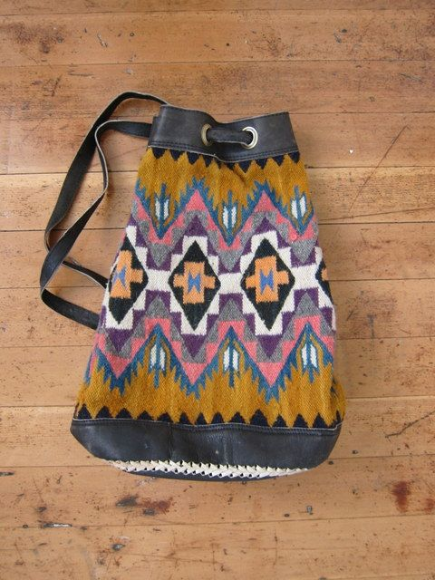 faa9a9c0514 Vintage 70 s Ethnic Kilim Woven Navajo Aztec Indian Wool Leather Backpack  Bucket Bag