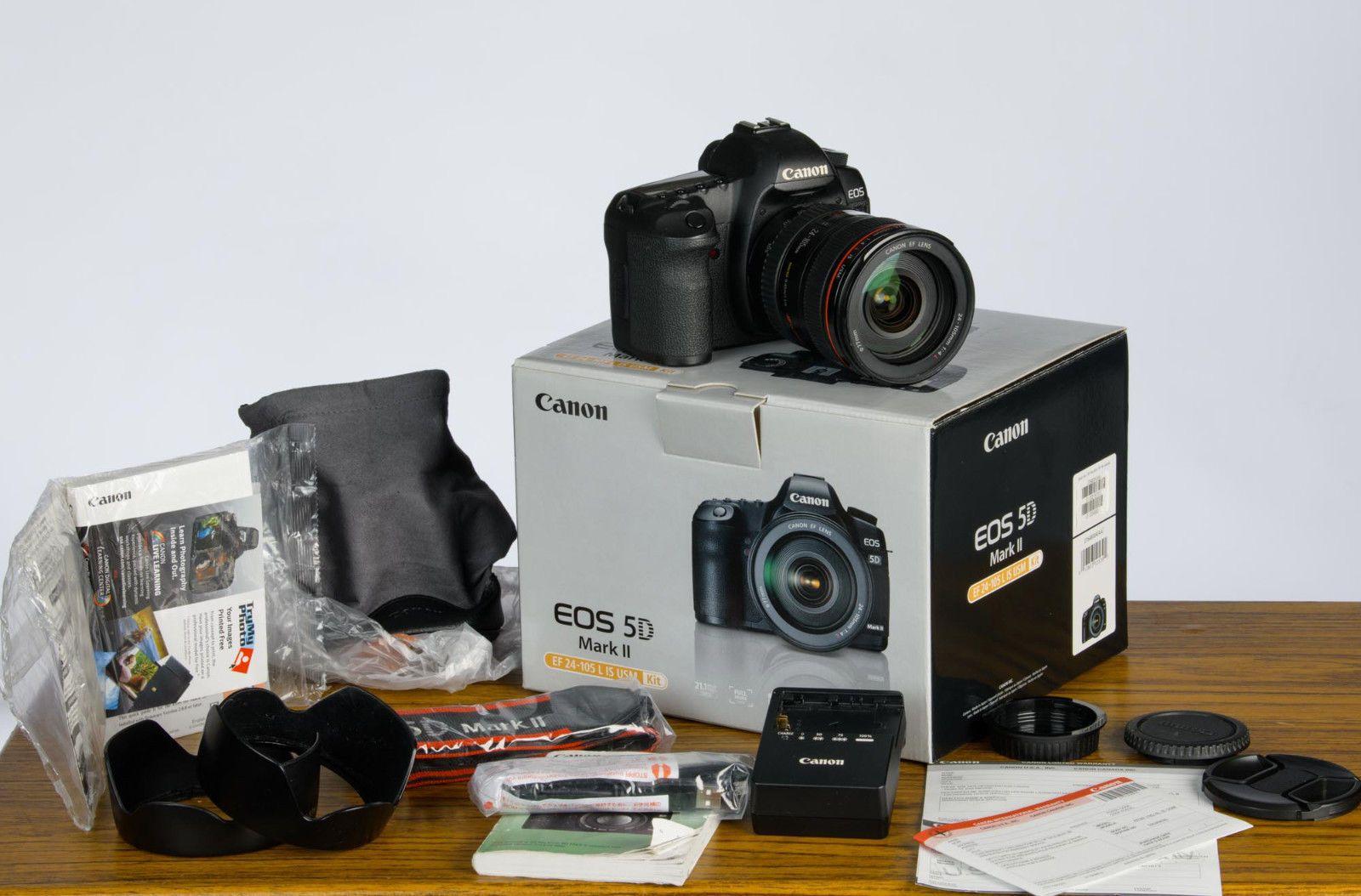 Canon 5d Mark Ii Full Frame Digital Slr Camera W Ef 24 105mm L Is Lens In Box Digital Slr Camera Digital Slr Digital Camera