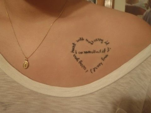 Literary Heart Tattoo On Chest