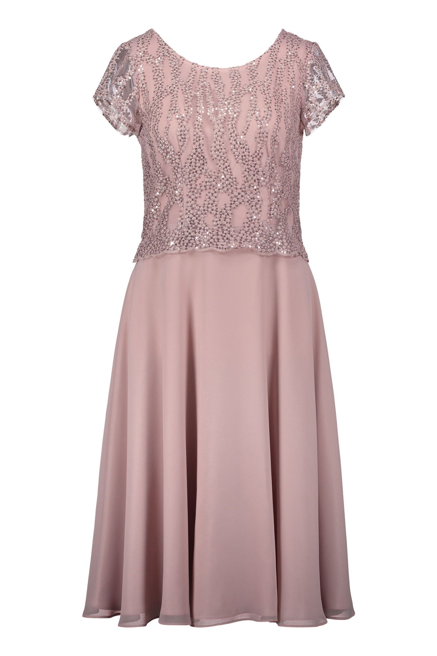 Elegantes Kleid Ärmel Rosé Chiffon Vera Mont | Mode ...