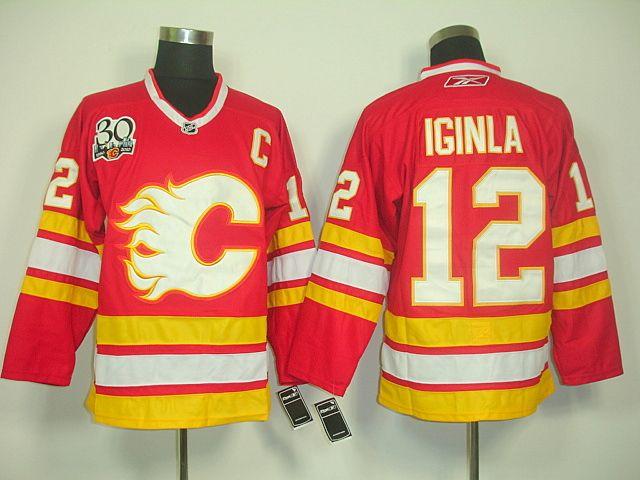 calgary flames 12 jarome iginla 30th anniversary jersey