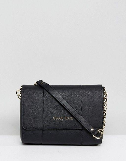 4800158ba9 Armani Jeans Black Paneled Cross Body Bag With Chain Strap | Giorgio ...