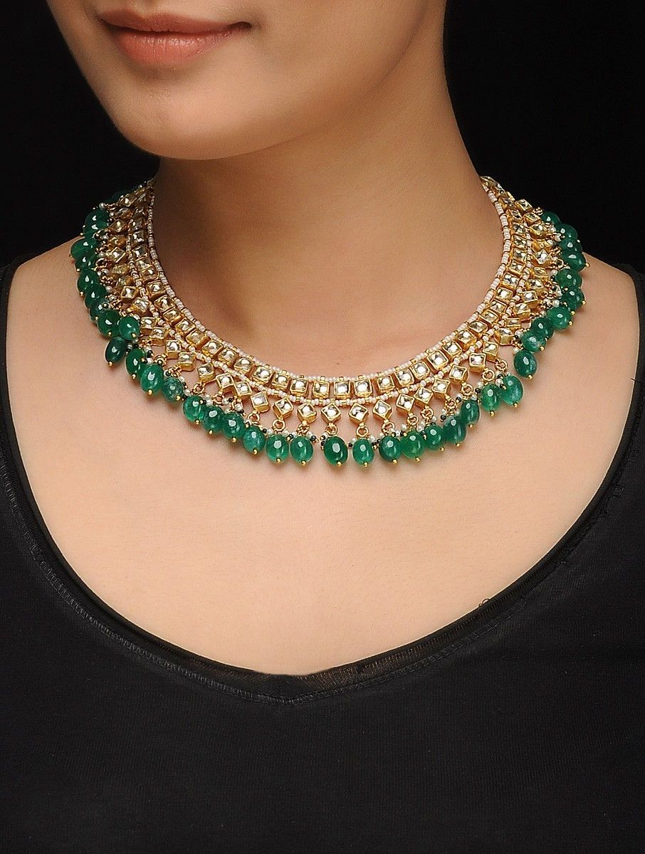 85b918039 Buy Green Golden Gold Tone Kundan Inspired Jade Necklace Silver Copper  Alloy Fashion Jewelry Necklaces Pendants Online at Jaypore.com