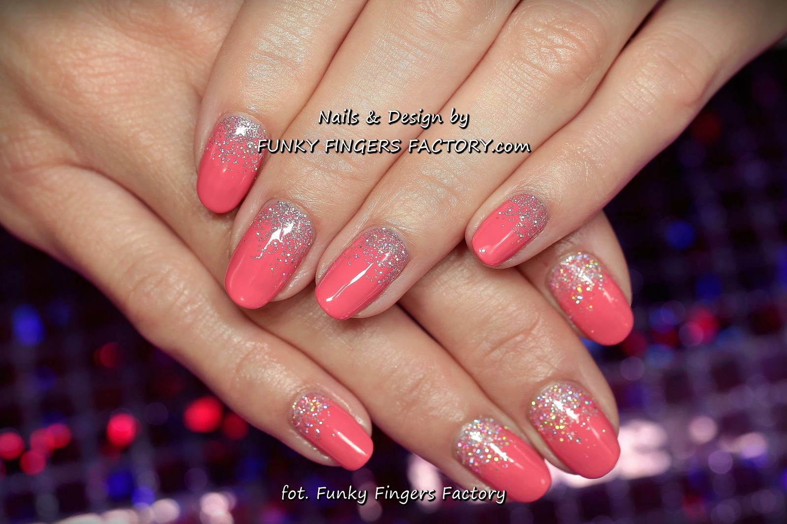 gelish coral and silver glitter ombre nailswww