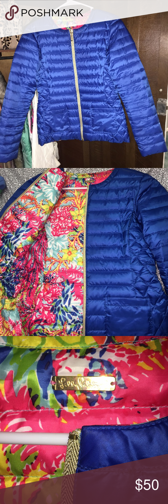 Preowned Lilly Pulitzer Puff Jacket 💙 Beautiful winter coat , very bright and vibrant colors can be worn on either side ! Size small 💙 Lilly Pulitzer Jackets & Coats Puffers
