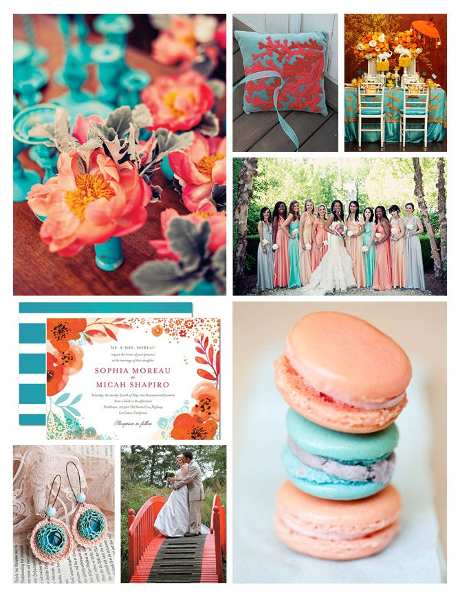 Love The Flowers In Upper Left Hand Corner Amazing Wedding Color Scheme Aqua Blue N Coral Orange Wedding Colors Wedding Color Schemes Wedding