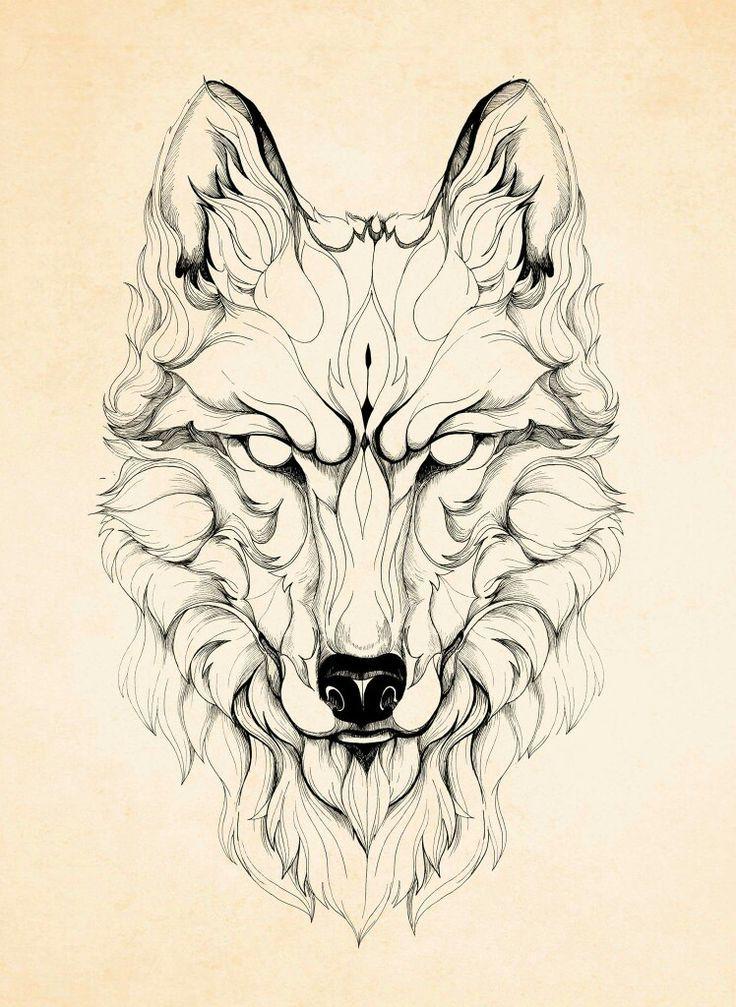 Line Art Wolf Tattoo: Geometric Wolf Tattoo, Wolf Tattoo