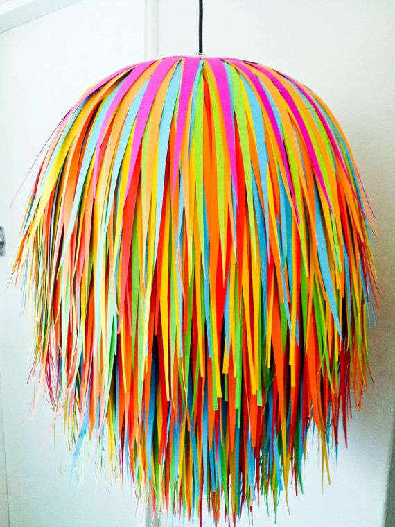 Gorgeous handmade colourful paper hanging light shade - Lollipop Light Shade, kids lights, childrens rooms. $95.00, via Etsy.