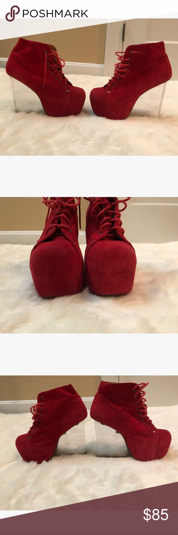 RARE Jeffrey Campbell Dina in Red (Size 6.5) These Jeffrey