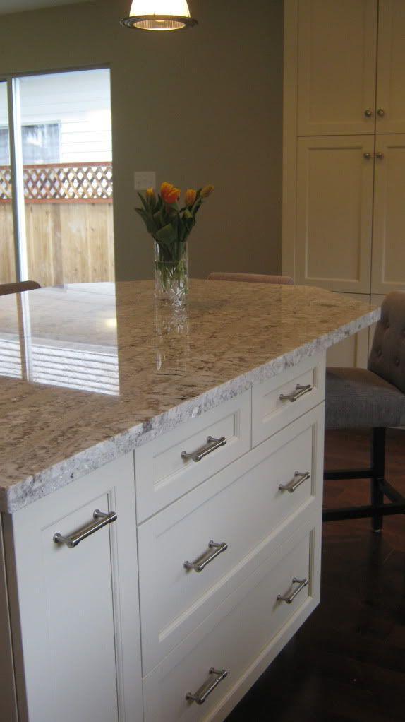 Cabinets   Kitchen Craft Lexington Maple Seashell Granite   White Springs  Cabinet Hardware   Restoration Hdwe