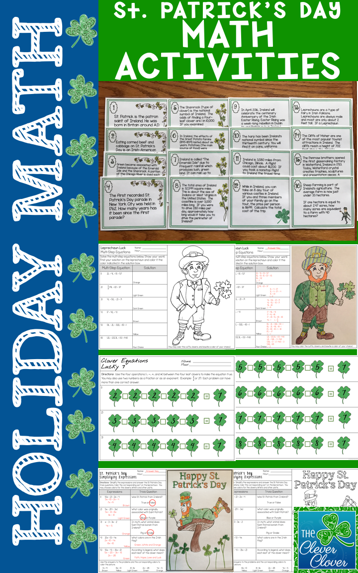 This Fantastic Resource Includes Three Activities In Which Your Students Will Solve Math Problems An Word Problems Task Cards Task Cards St Patrick S Day Words [ 1152 x 720 Pixel ]