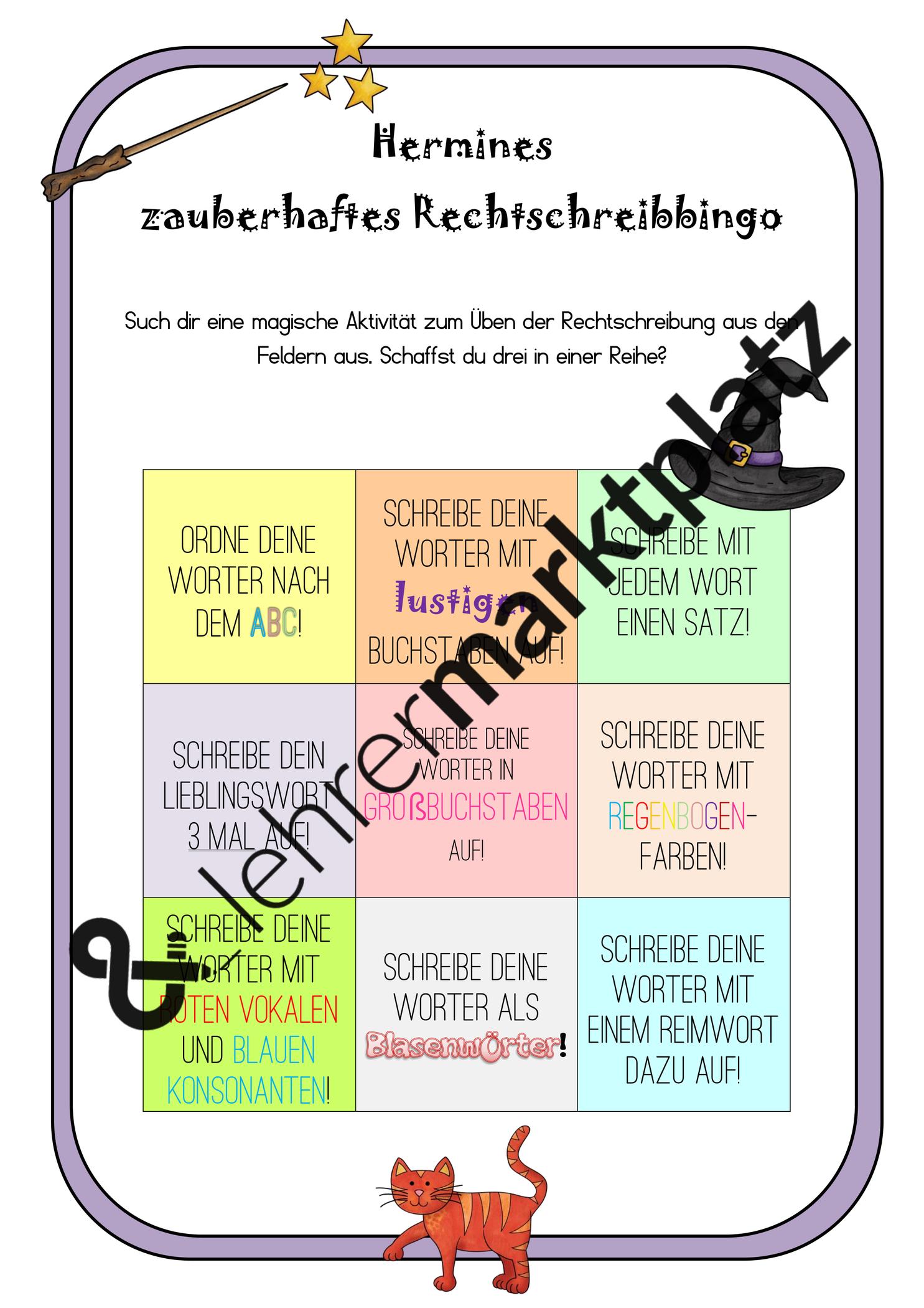 Hermines Zauberhaftes Rechtschreibbingo Harry Potter Unterrichtsmaterial Im Fach Deutsch Bingo Unterrichtsmaterial Lernen