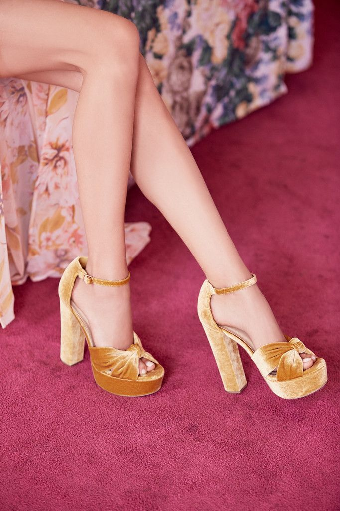 72d2385cf264 Velvet Two-Piece Platform Sandals in 2018