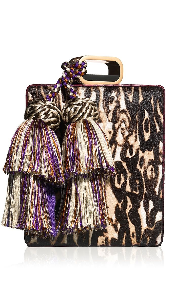 Tonya Hawkes CHEETAH PRINT HAIR CALF PERFUME CLUTCH