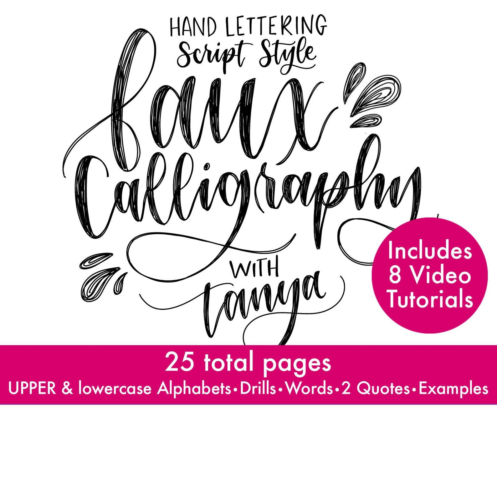 Faux Calligraphy Hand Lettering Course Wrksheets Amp Videos
