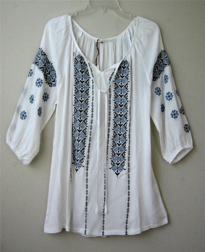 5625379a87e New White Vintage Blue Embroidered Peasant Blouse Boho Tunic Top Shirt  ~12/14/L #Solitaire #Blouse