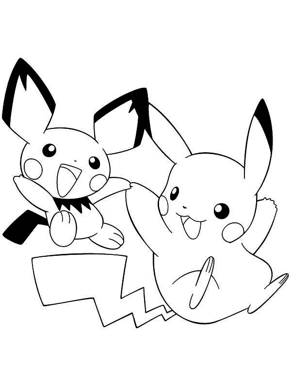 Pikachu And Pichu Playing Together Coloring Page Color Luna Pikachu Coloring Page Pokemon Coloring Pokemon Coloring Pages
