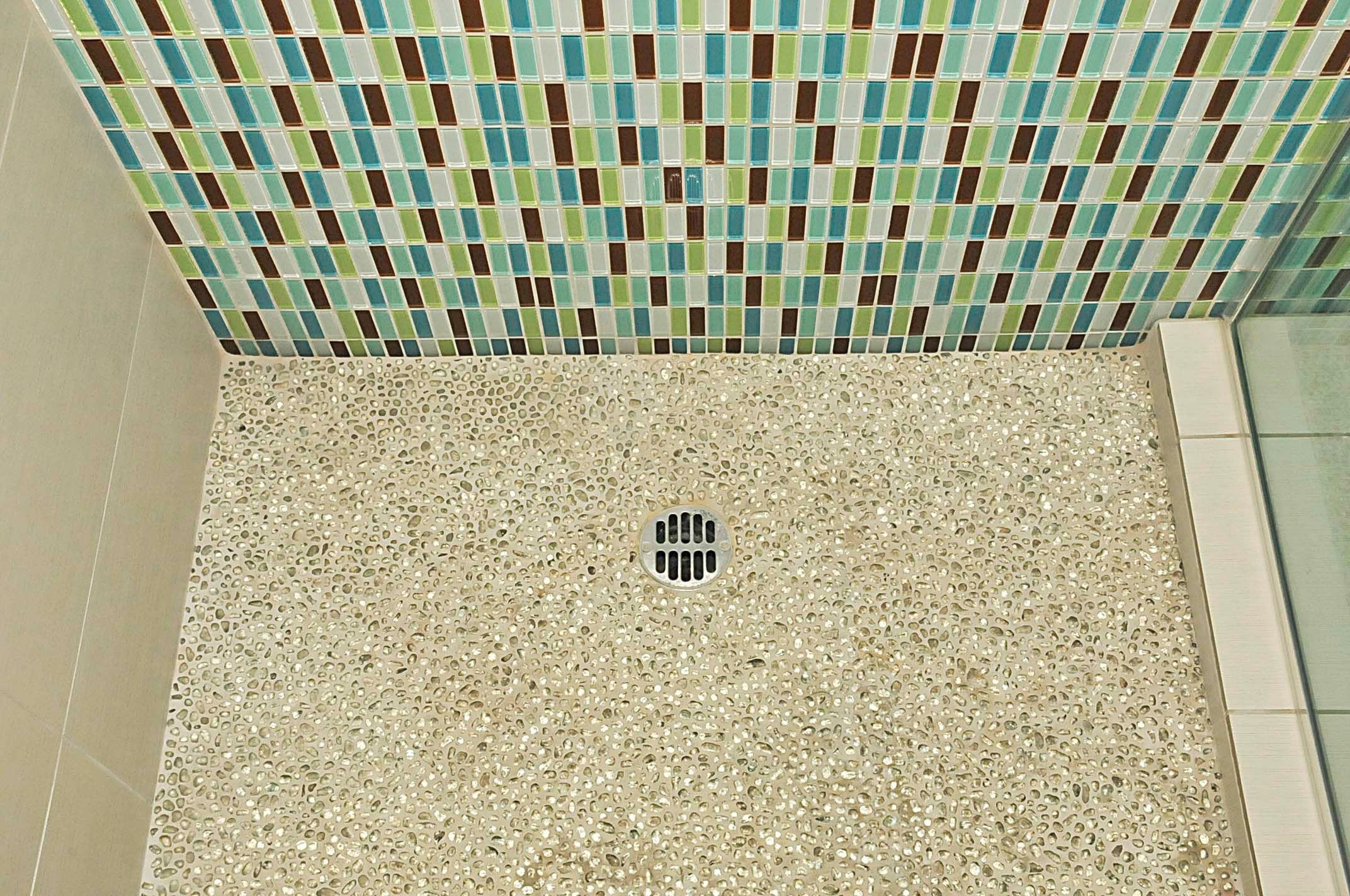 Modwalls Mosaic Tile with Recycled Glass Shower Floor   Master Bath ...