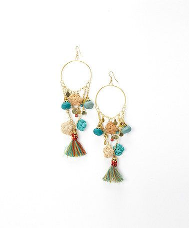 Gold teal tassel chandelier earrings zulilyfinds wired gold teal tassel chandelier earrings zulilyfinds mozeypictures Image collections