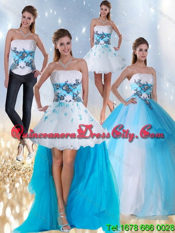 e7528b84c79 2015 Detachable Strapless Multi Color Quinceanera Dress with Appliques and  Beading in 2019