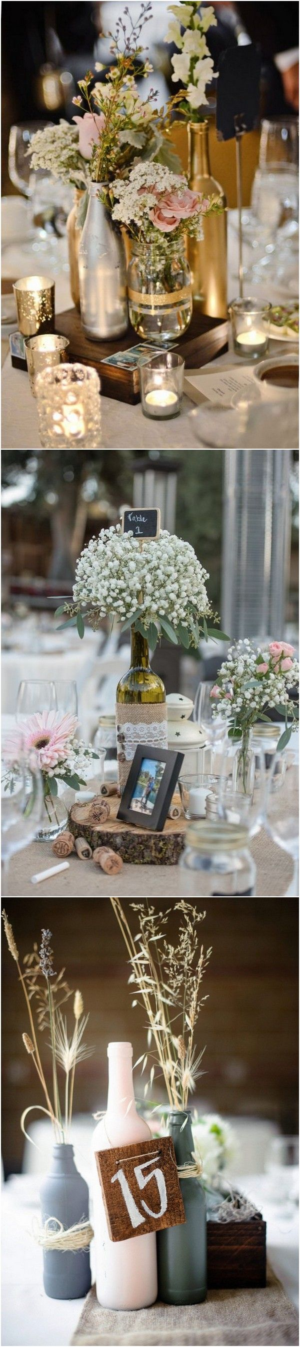 Wedding decoration ideas simple   Creative DIY Wine Bottle Wedding Centerpieces for Your Big Day in