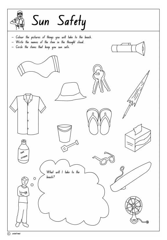 Sun safety activity sheet for the kids Get them involved early so – Safety Worksheets for Kindergarten