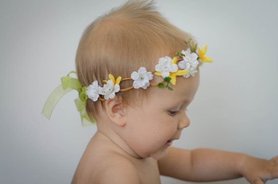 Pretty White and Yellow Flower Crown with Rustic Brown Looped Floral Wire & Sheer Green Ribbon - Great for Spring, Summer, and Parties!