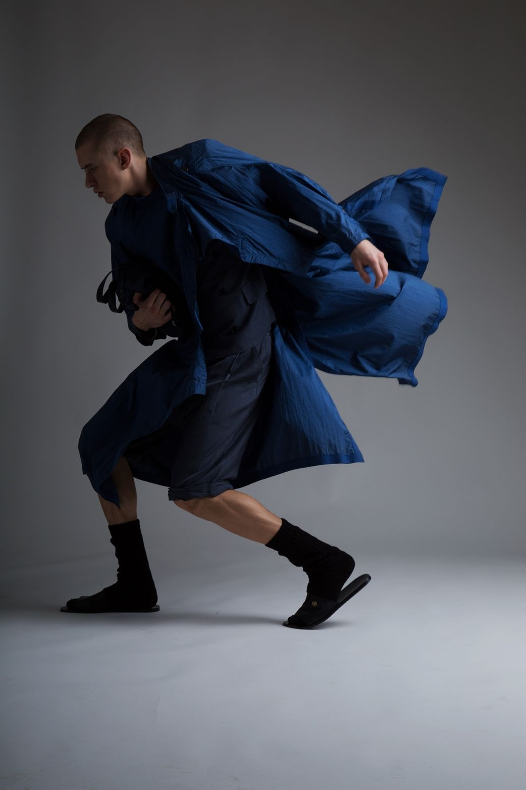 Vintage Men's Issey Miyake Coat, Jil Sander Bag, Phillip Lim Men's Blazer and Shorts. Designer Clothing Dark Minimal Street Style Fashion