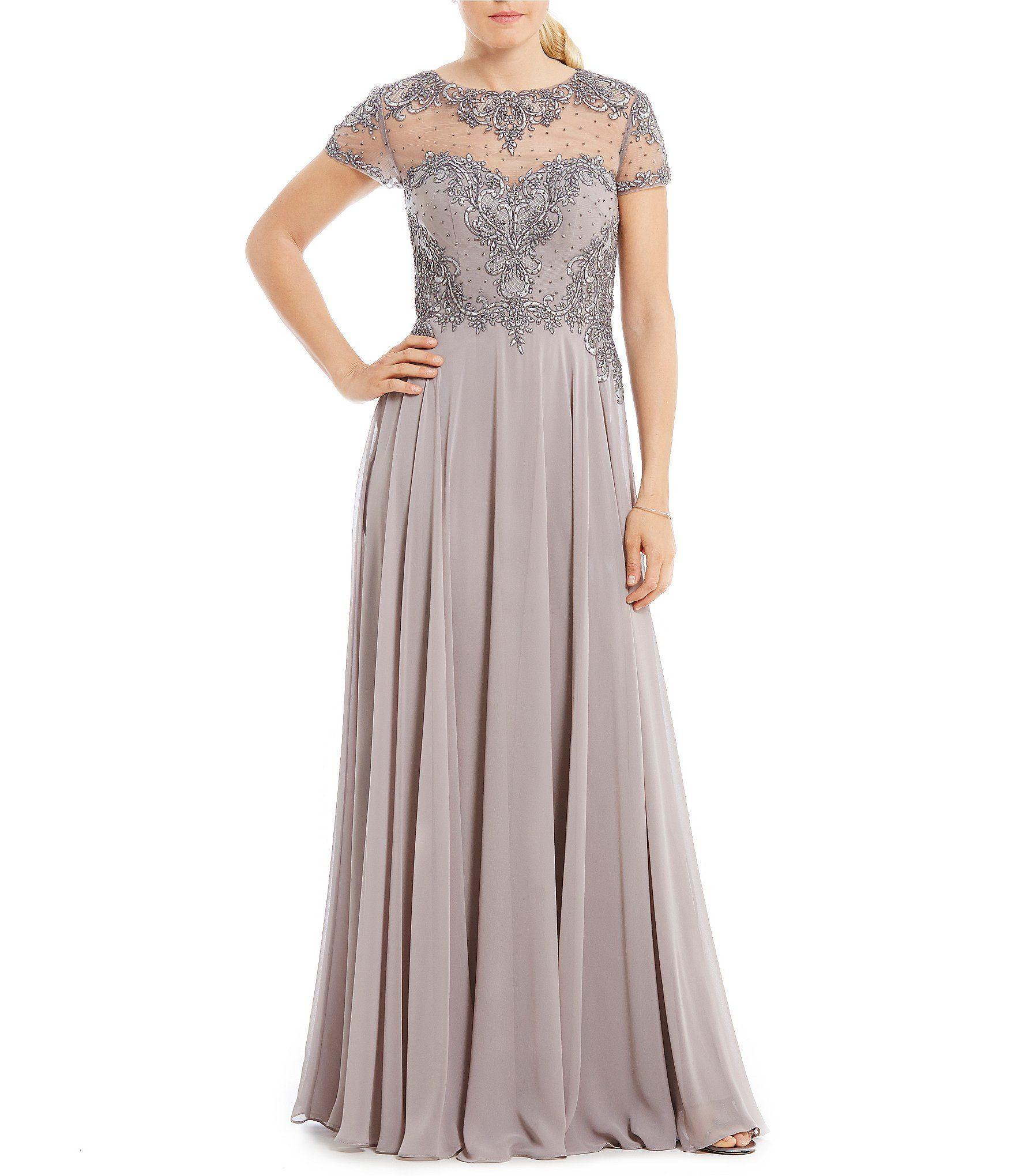 MGNY Madeline Gardner New York Beaded Bodice Chiffon Gown #Dillards ...