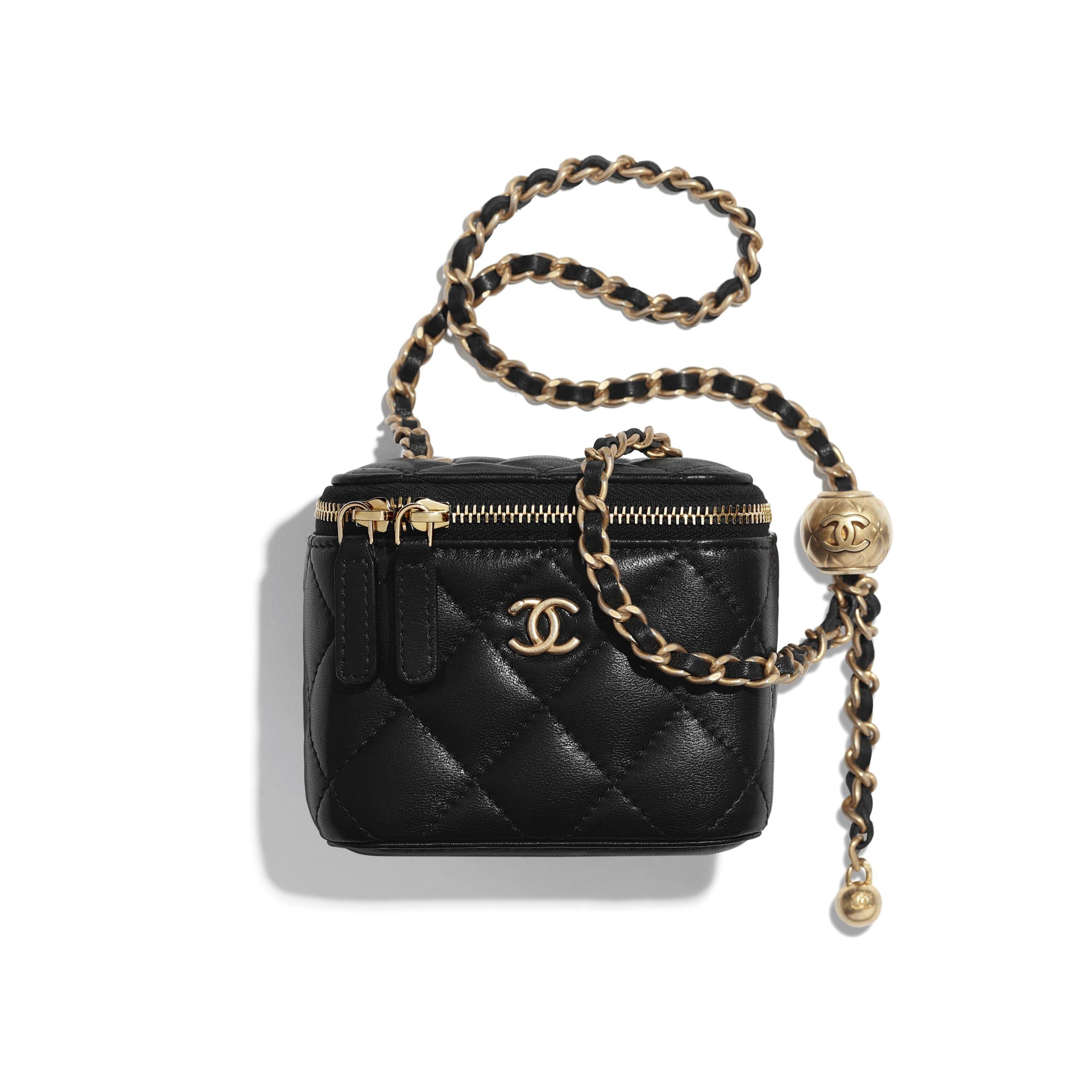 Lambskin Gold Tone Metal Black Small Classic Box With Chain Chanel In 2020 Chanel Bag Japanese Handbag Chanel Handbags