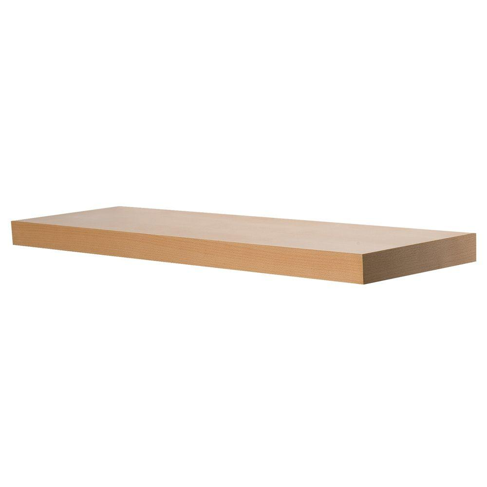 Wallscapes 10 In X 1 3 4 In Beech Wood Veneer Straight Floating Shelf Kit Price Varies By Length Bs9025bekit The Home Depot Floating Shelves Shelves Wood Veneer