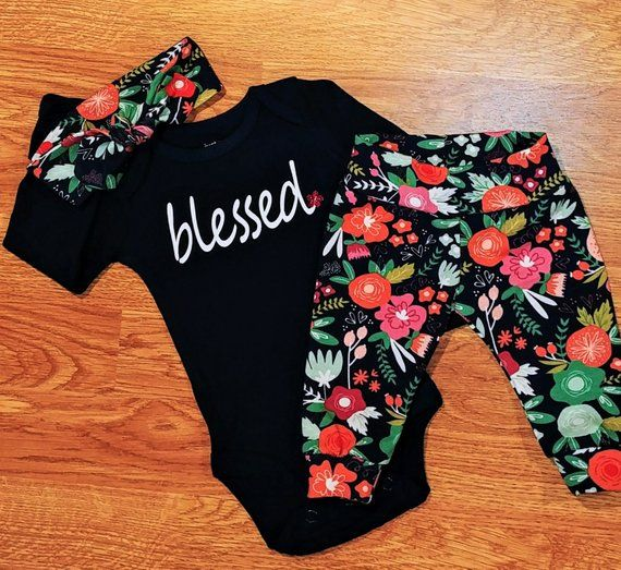 Photo of blessed baby girl going home outfit, baby shower gift, take home, topknot, headband, floral, adoption Christian Catholic baptism religious