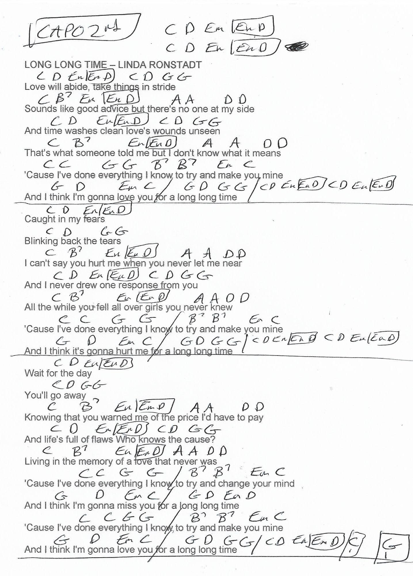 Long Long Time Linda Ronstadt Guitar Chord Chart   Capo 15nd Fret ...