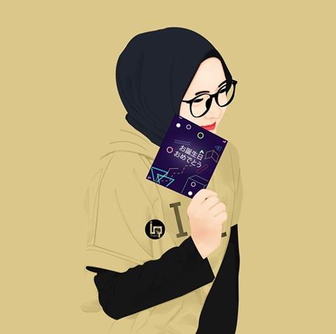 Karakalem Başörtülü Kadın Çizimleri Anime muslim, Hijab